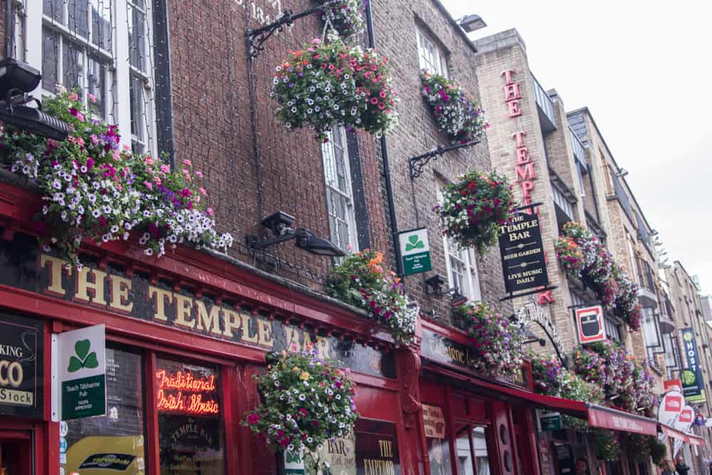 red and brick buildings on temple bar street in ireland