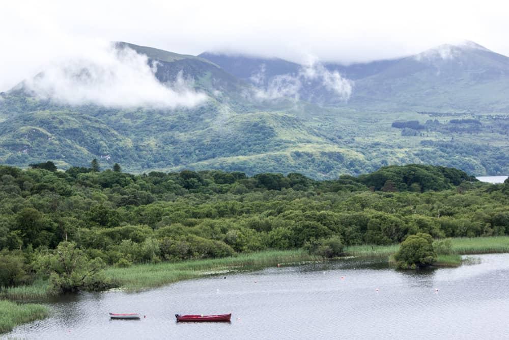 boats on lake in killarney national park in ireland