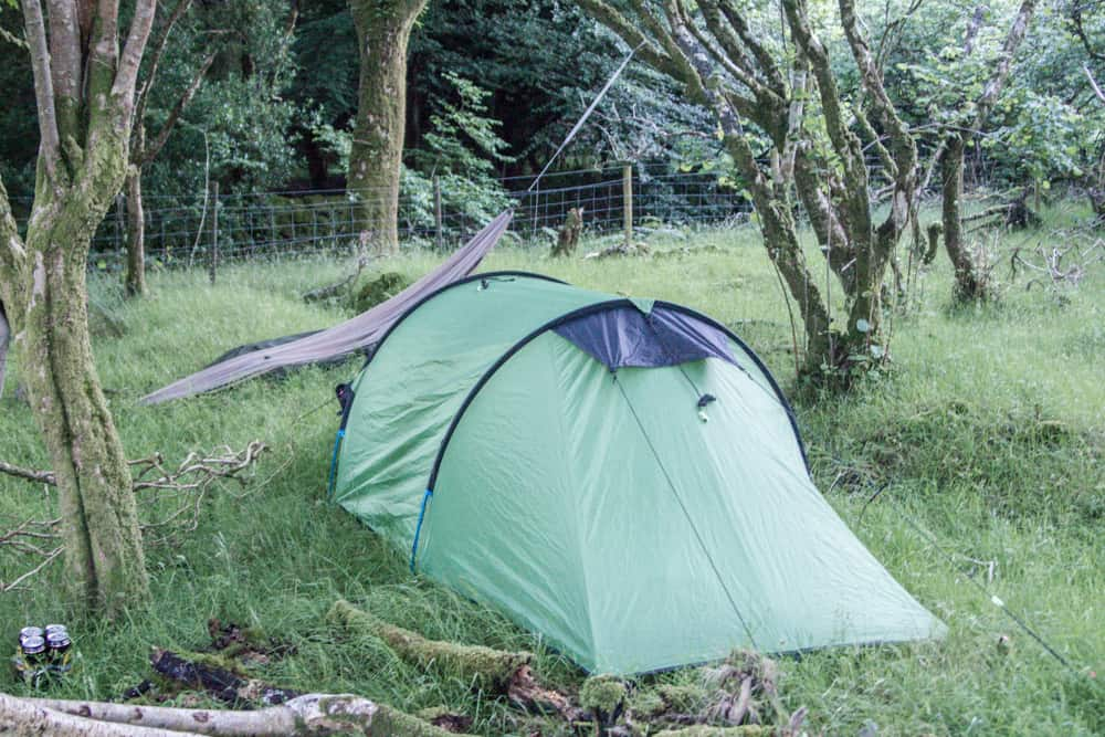 hammock and green tent in connemara national park in ireland