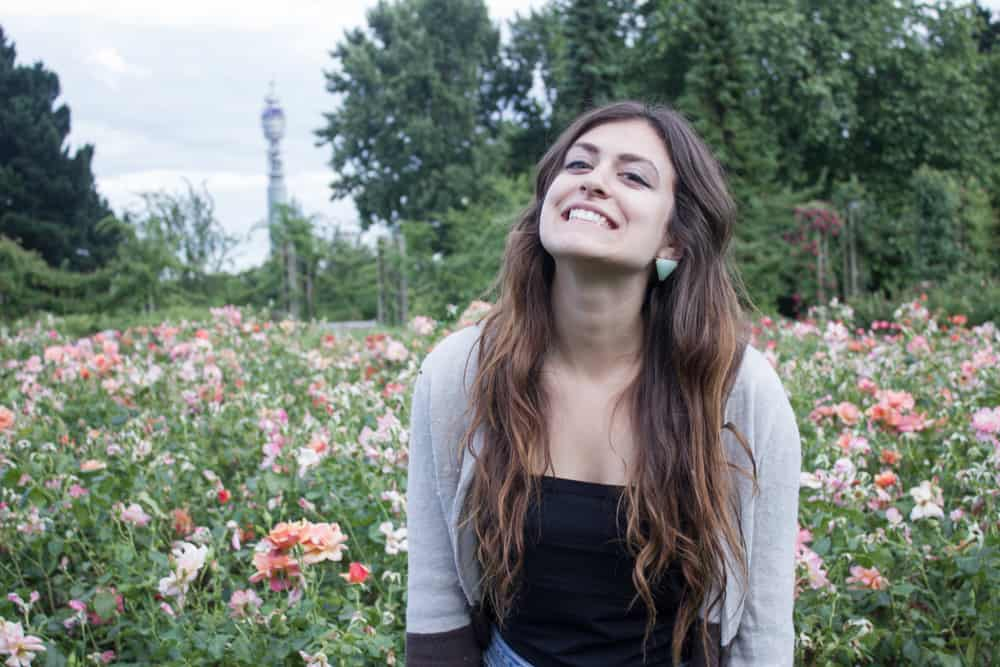 Kelsey at Queen Mary's Rose Garden in London, England