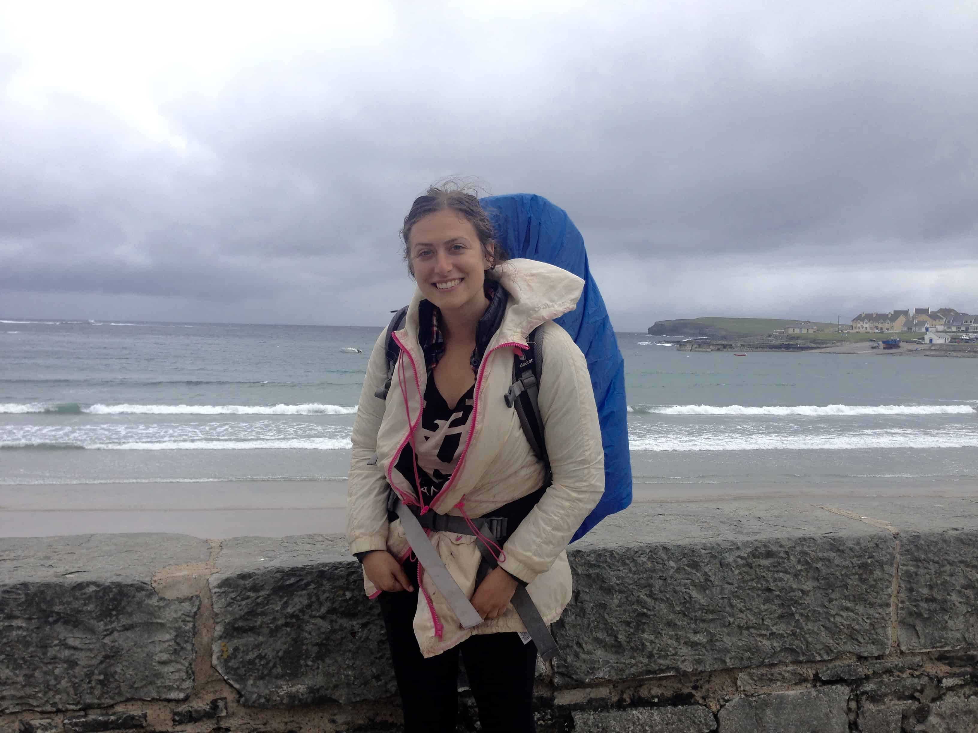 Hitchhiking in Kilkee in Ireland on a cloudy day