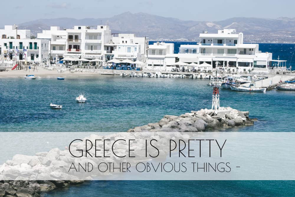 White buildings and blue water in Paros, Greece