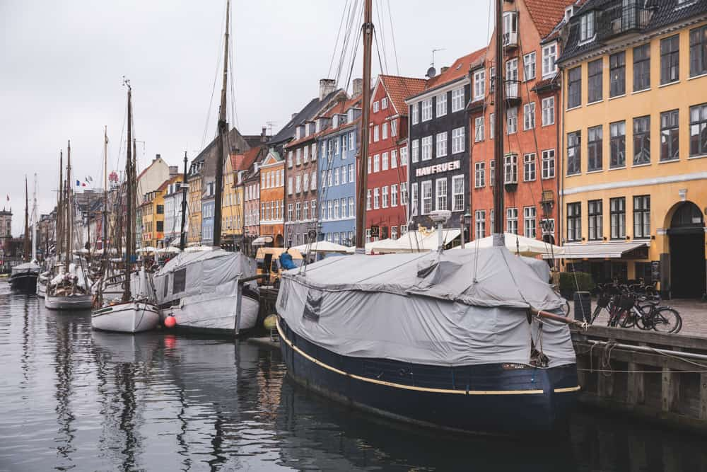 Nyhavn and its canals and colorful buildings in Copenhagen in winter