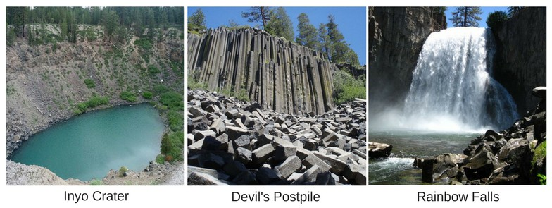 Inyo Crater, Devil's Postpile, and Rainbow Falls near Mammoth, California