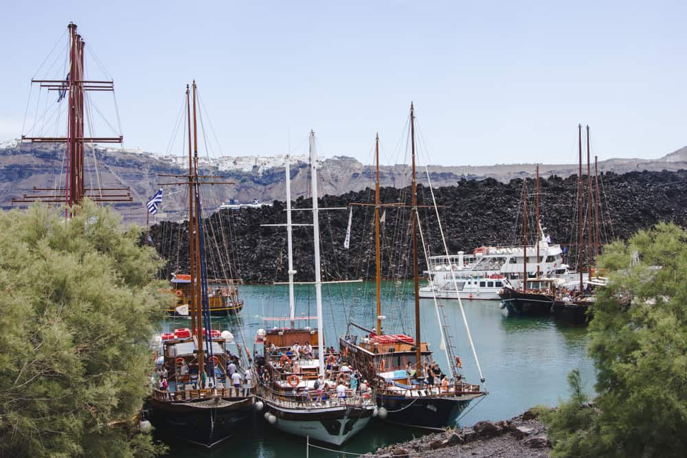 Boats at the Volcano Tour in Santorini