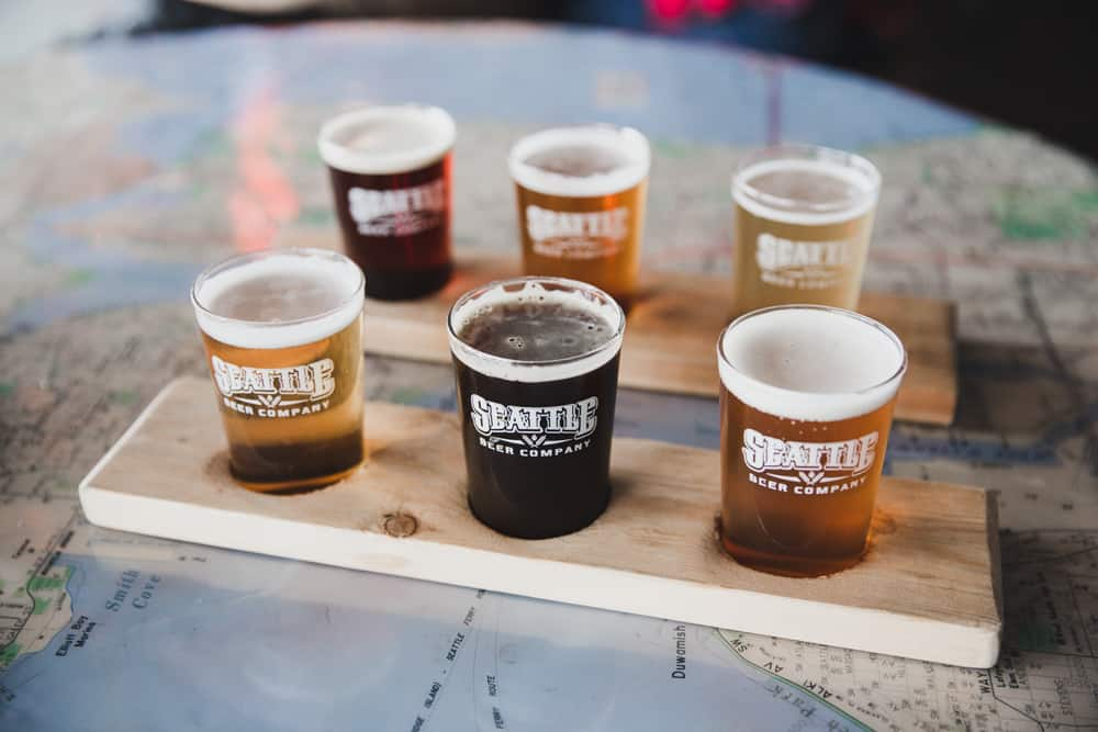 Flight of beers at Seattle Brewing Company in Seattle, Washington