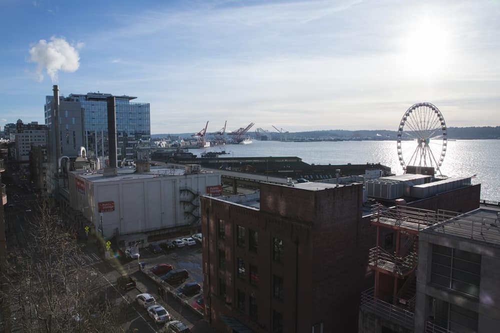 View from the garden rooftop in Pike Place Market in Seattle, Washington