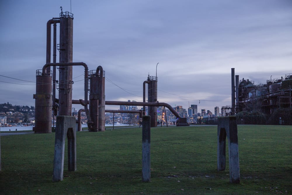Gas Works Park at sunset in Seattle, Washington