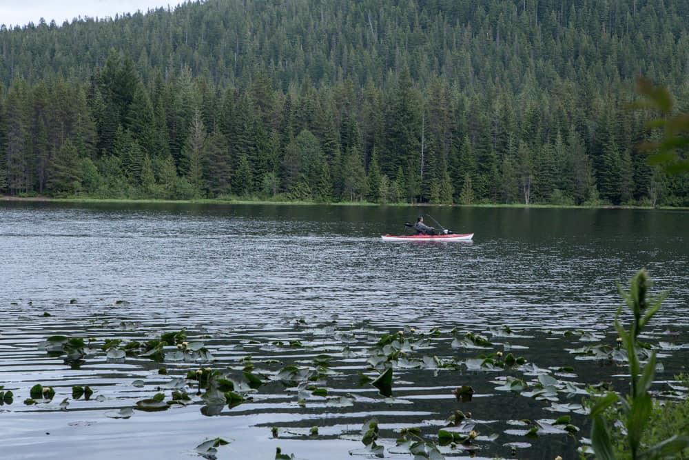 Kayaker on Trillium Lake in Mt Hood in Oregon