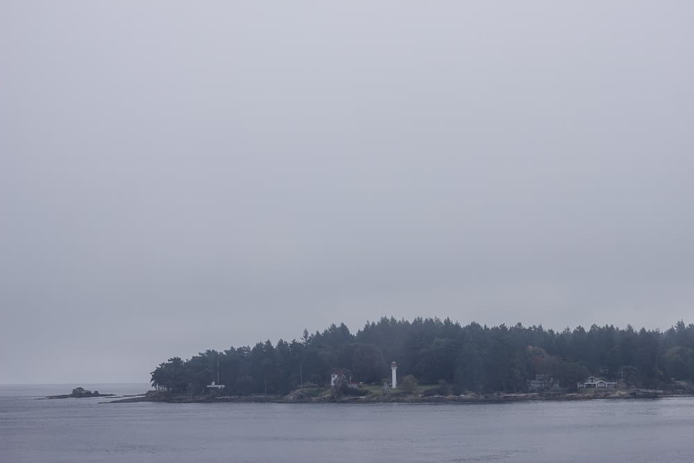 Foggy view from a ferry ride from Victoria to Vancouver, Canada