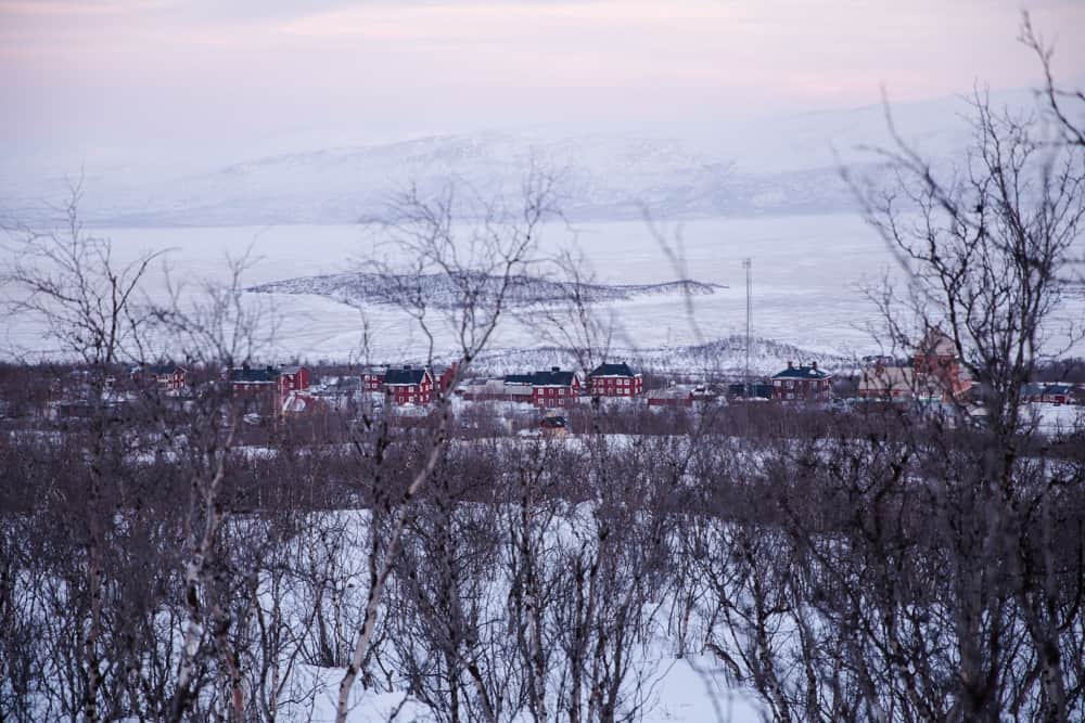 View from Stornabben in Abisko, Sweden on a snowy winter day in January