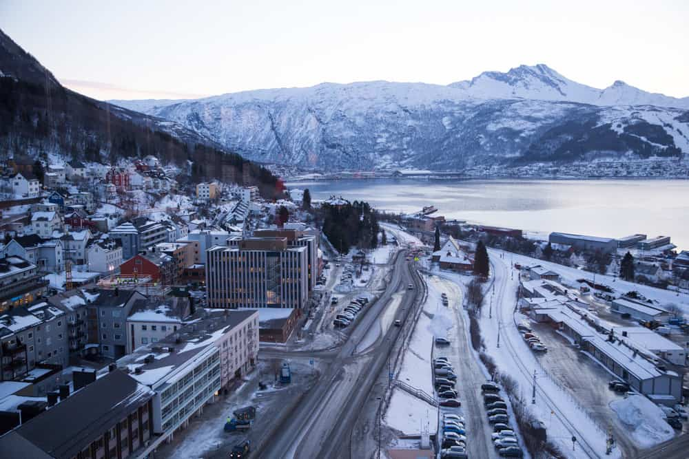 View of a fjord from the Scandic Hotel in Narvik, Norway in the dead of winter in January