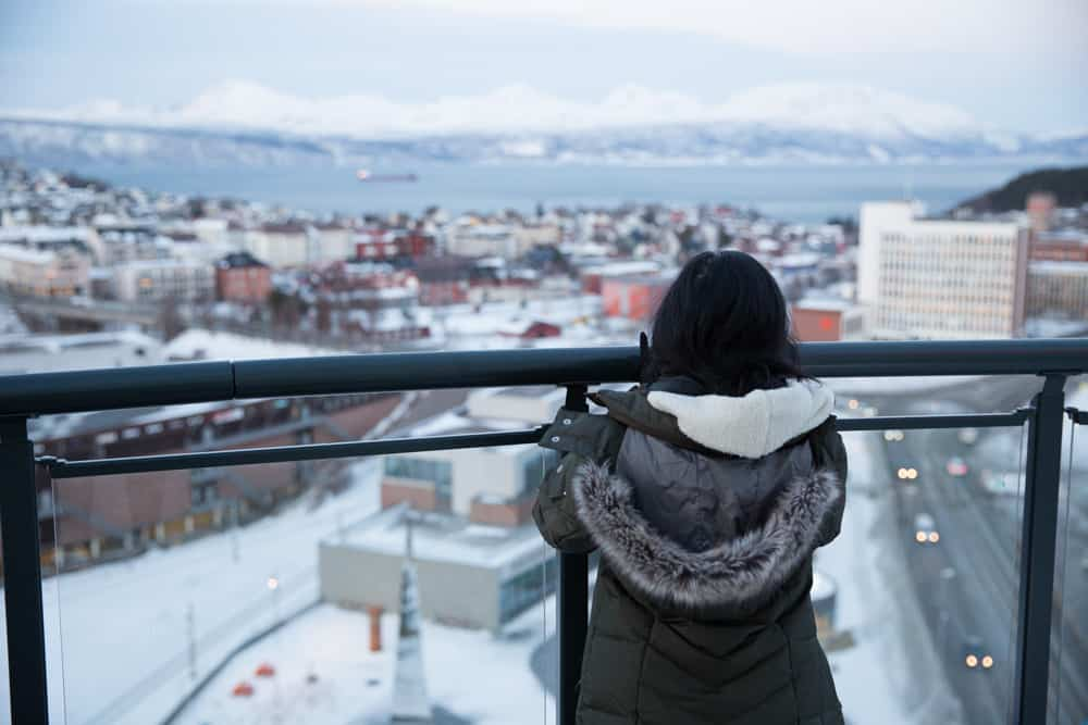 View of the snowy city and fjord from the balcony at the Scandic Hotel in Narvik, Norway in January