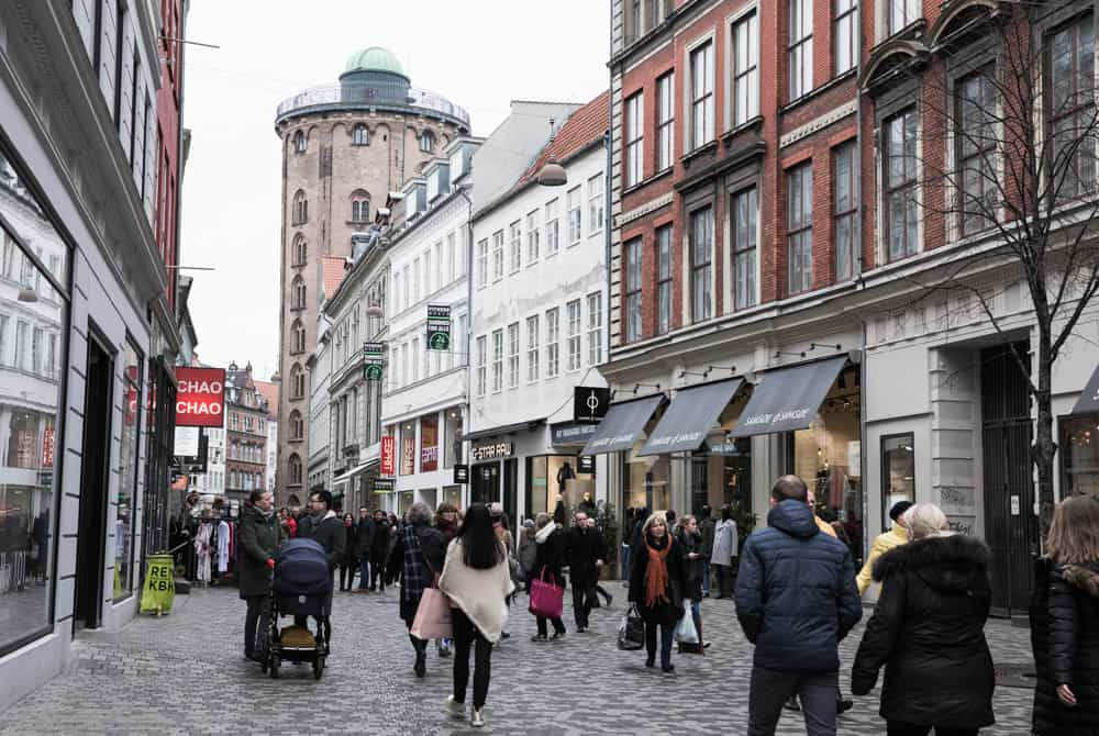 Strøget in Copenhagen, Denmark in January
