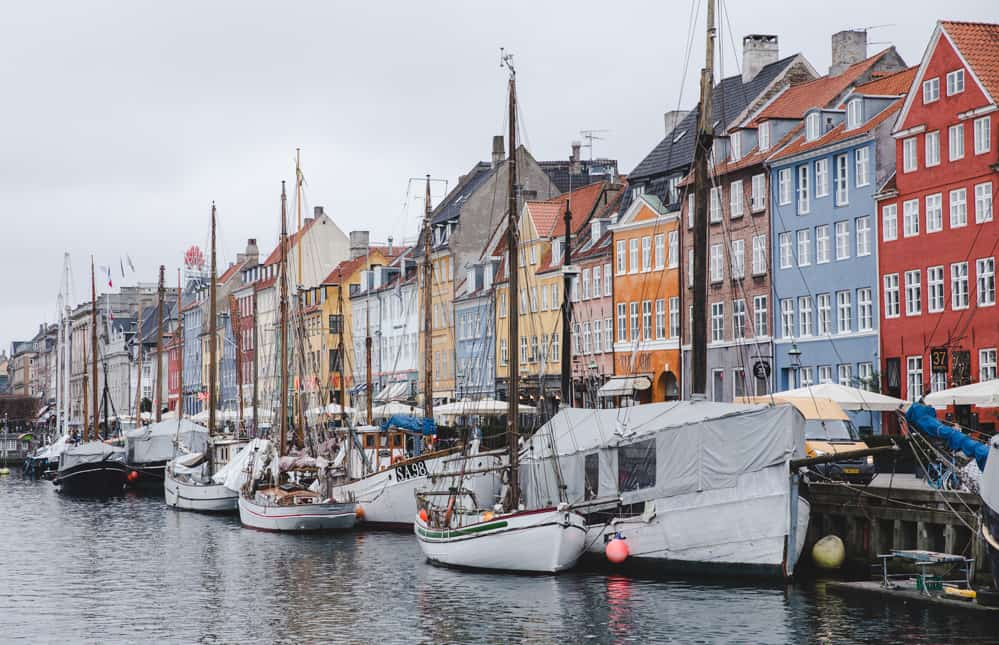 The canals of Nyhavn in Copenhagen, Denmark in January