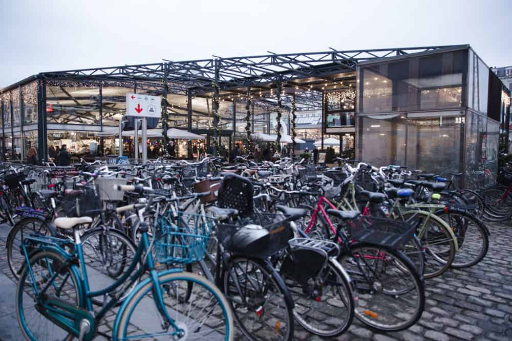 Bikes at TORVEHALLERNE MARKET in Copenhagen in January