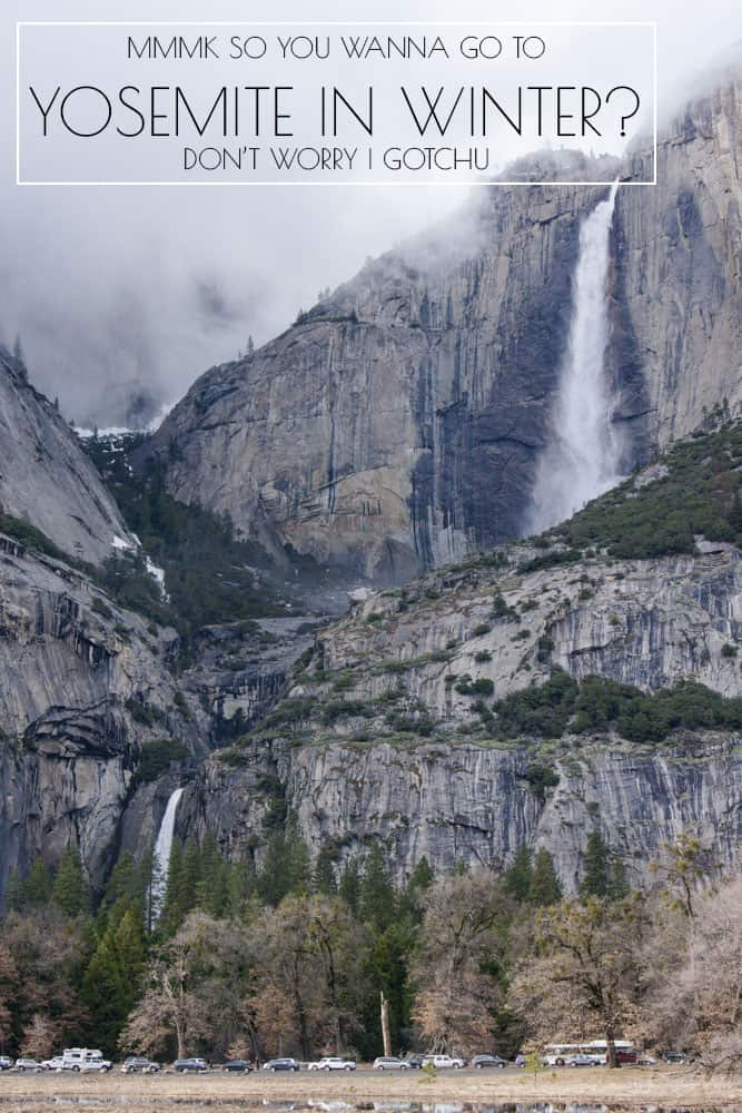 Yosemite Falls in Yosemite National Park in California in winter