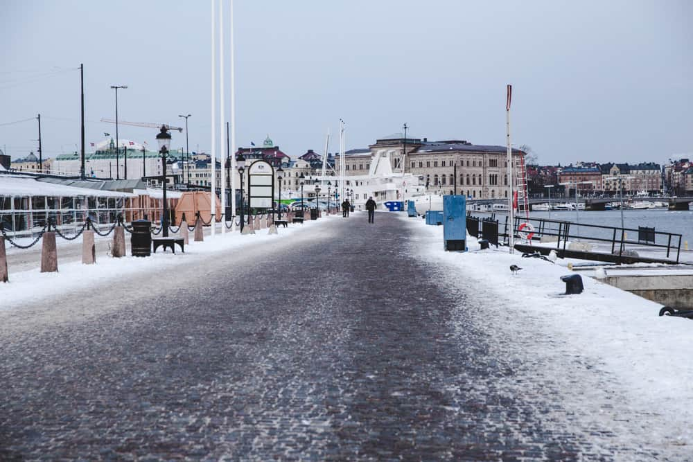 Waterfront in Gamla Stan in Stockholm, Sweden in winter