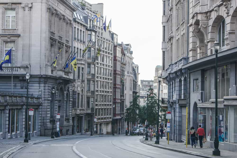 Street with beautiful buildings and architecture in Brussels, Belgium