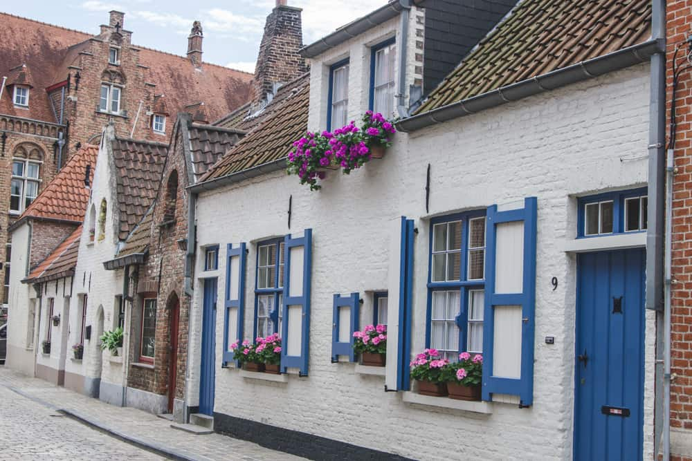 Brick, white, and blue houses with flowerpots in Bruges, Belgium on a cobblestone street