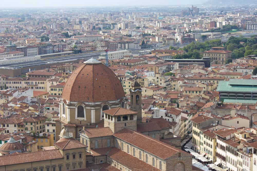 View of Florence's orange rooftops from the top of the Duomo
