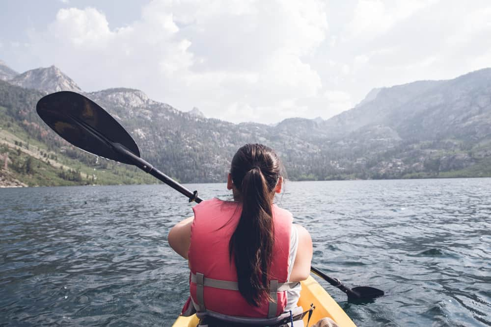 Kayaking at Lake Sabrina in the Eastern Sierras in California