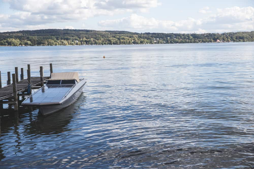 Boat on Starnberg Lake (Starnberger See) in Starnberg, Germany in September