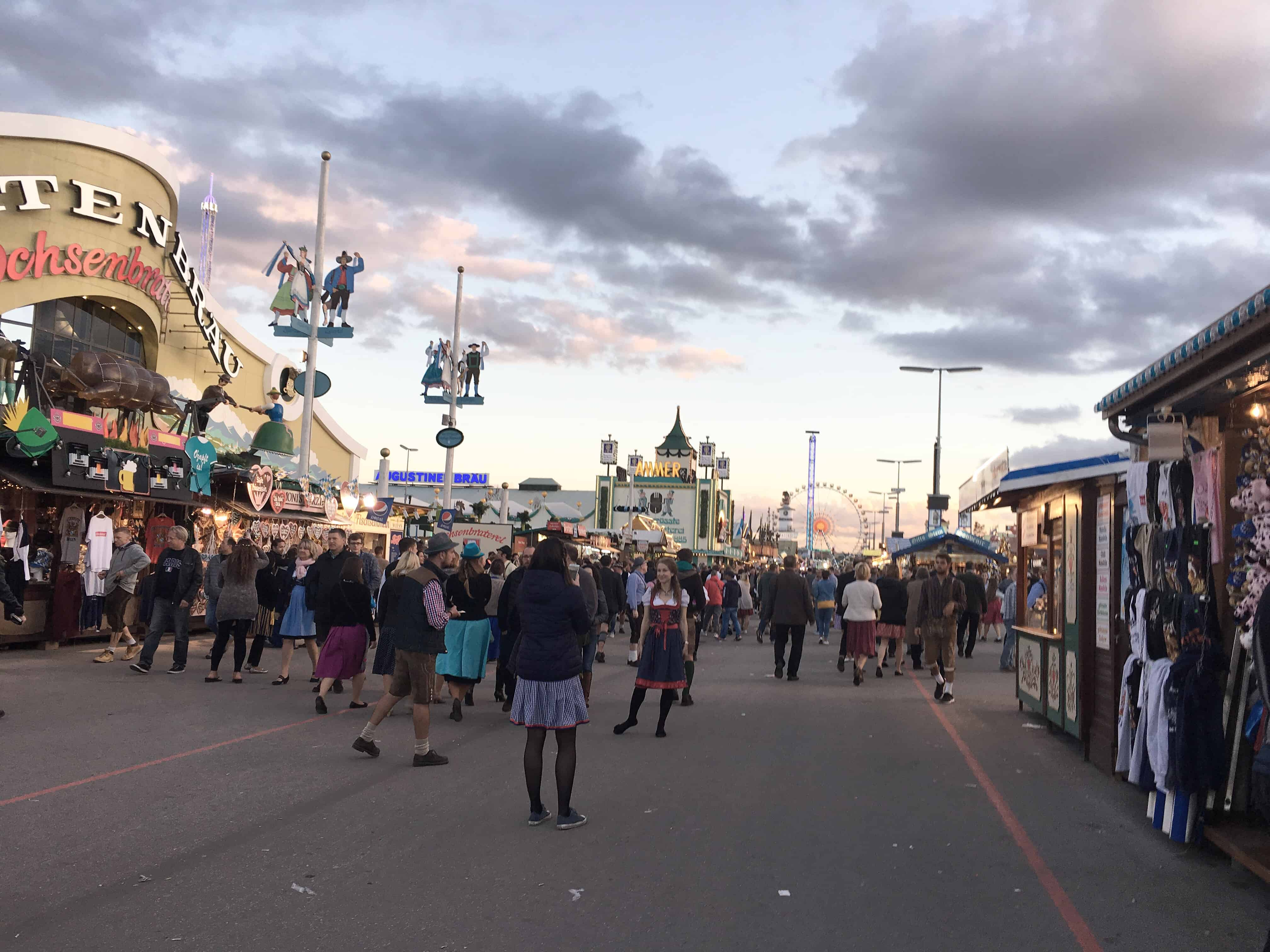 Oktoberfest and carnival rides in the evening in Munich, Germany