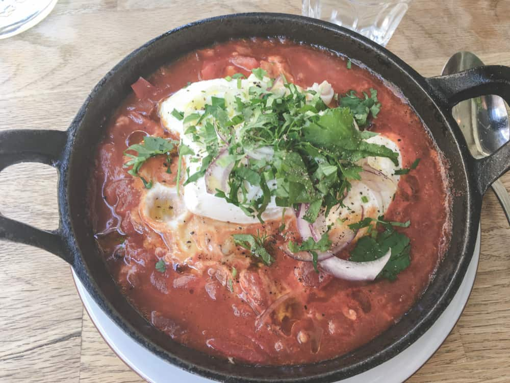 Shakshuka - a tomato and egg dish - in Lyon, France