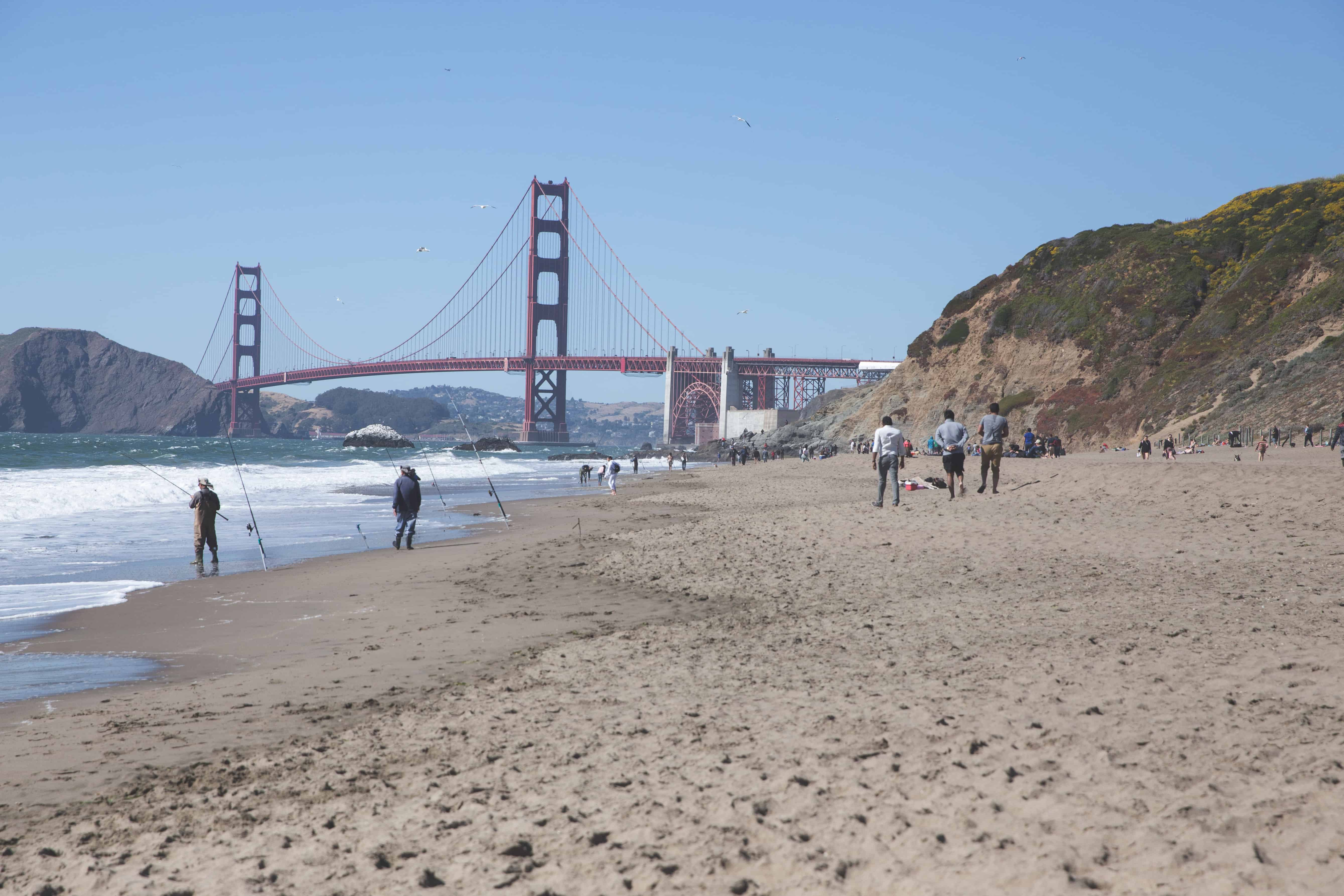 The Golden Gate Bridge at Baker Beach in the Bay Area in San Francisco, California