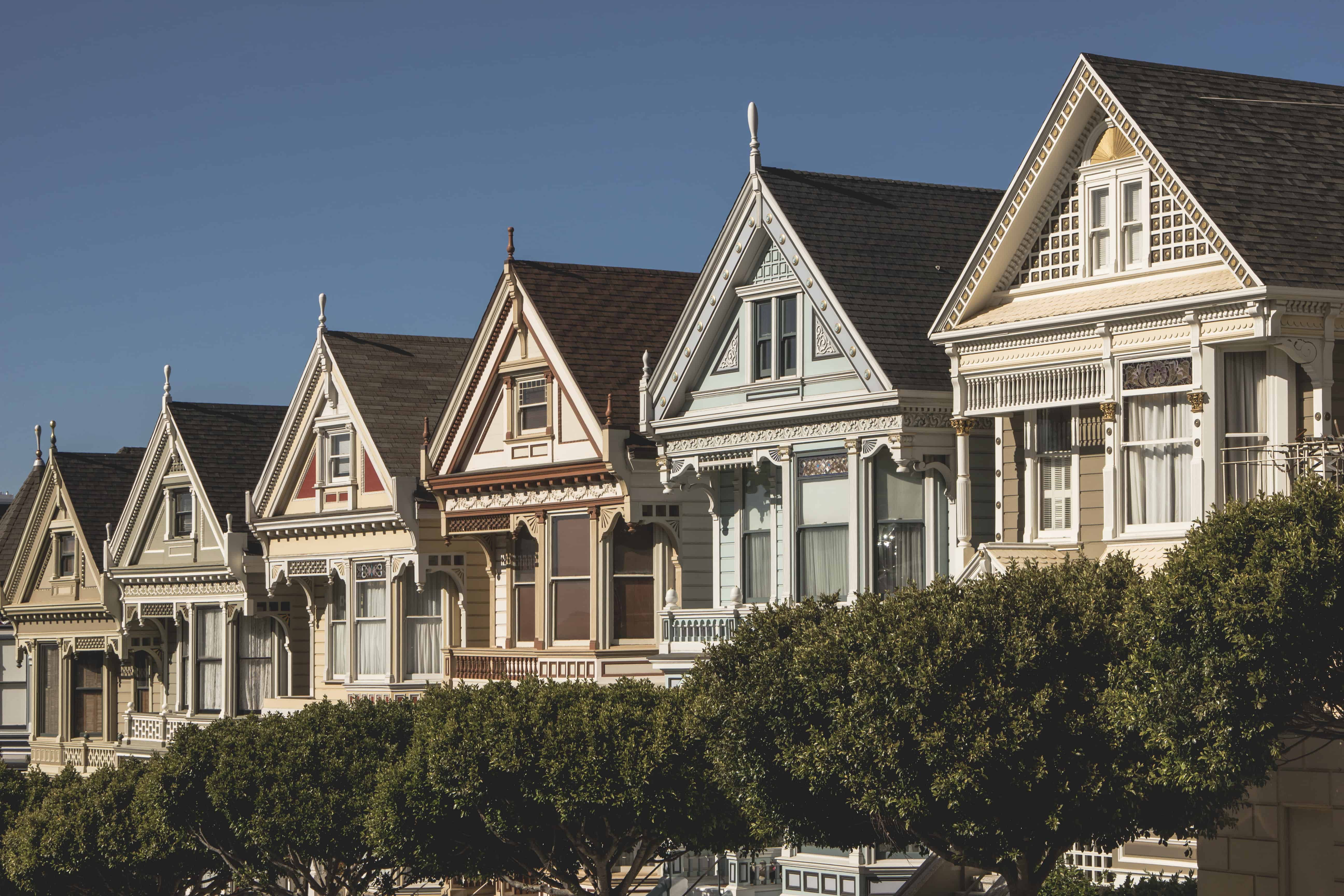 Painted Ladies in San Francisco are Victorian style homes in the Bay Area