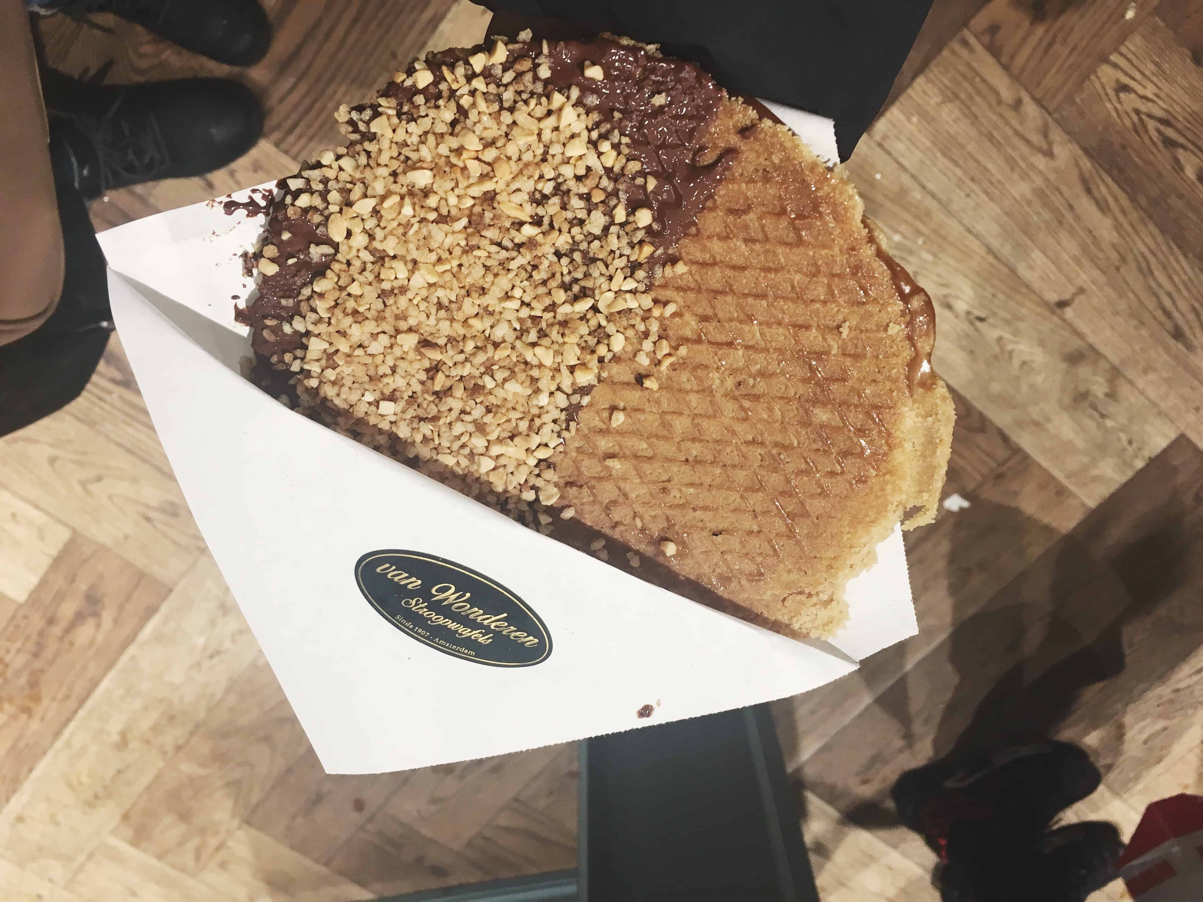 Stroopwafel topped with chocolate and hazelnuts from van Wonderen Stroopwafels in Amsterdam
