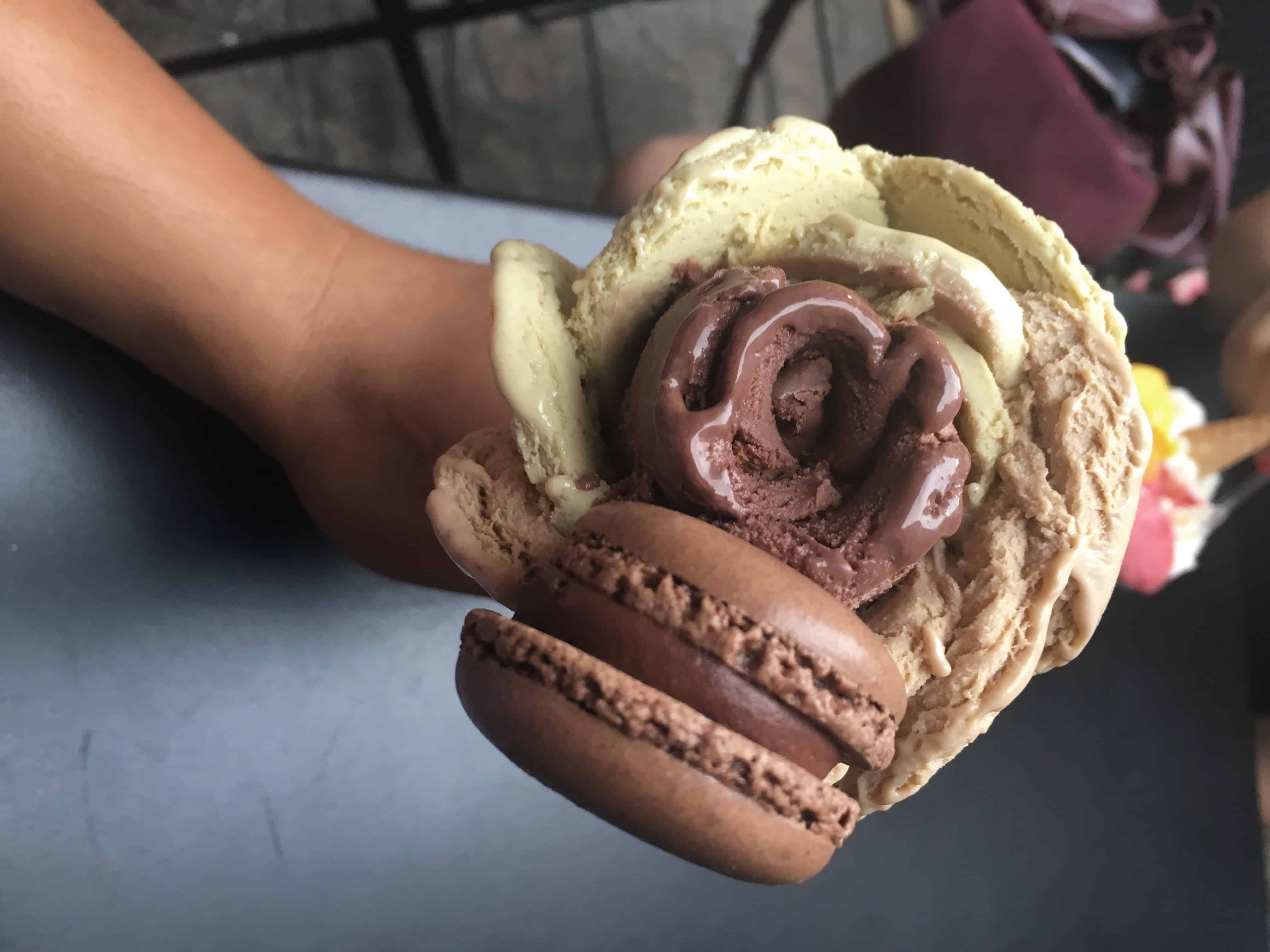 Gelato with a macaron from Amorino