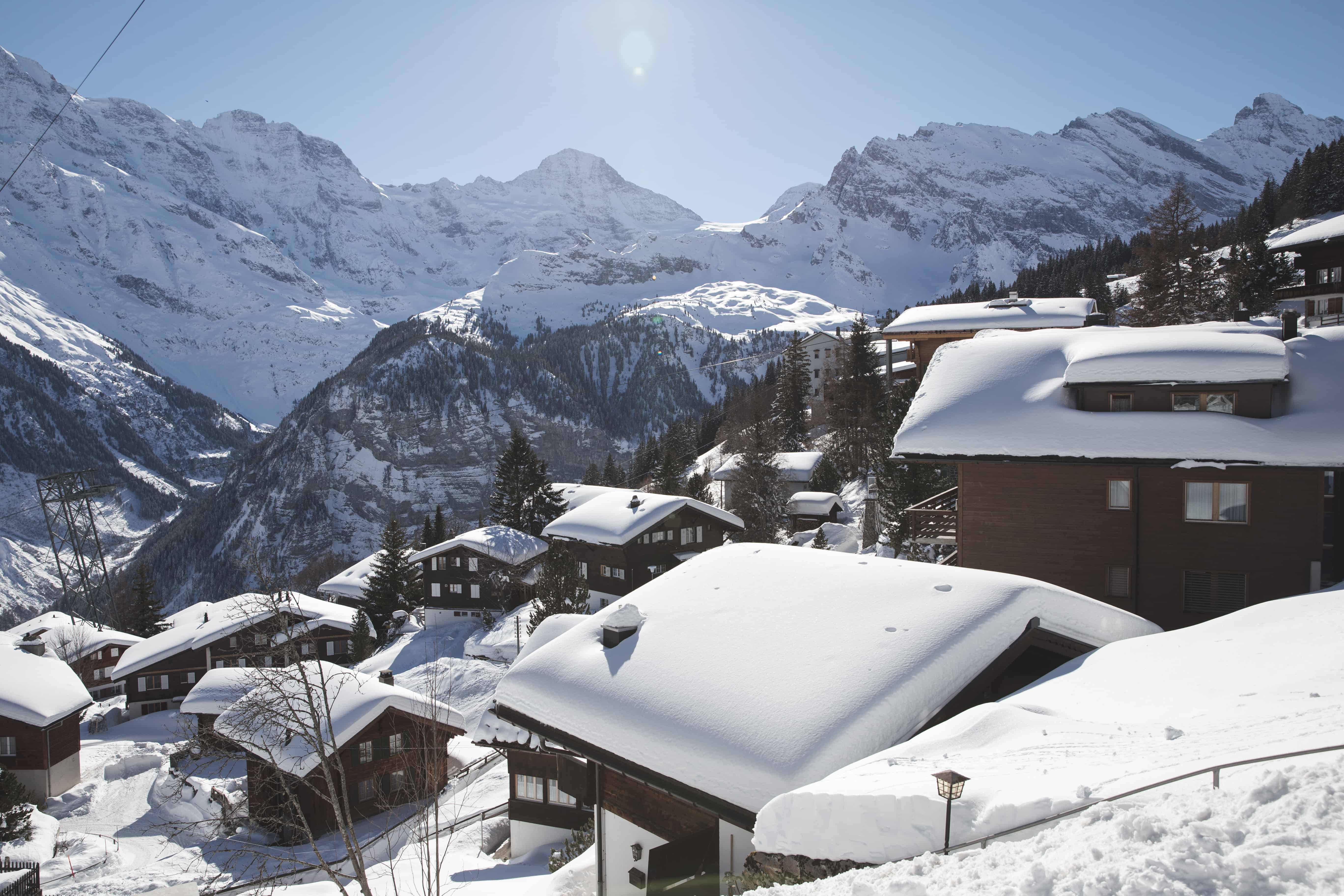 Mürren is a quintessential Swiss Alps ski town, and is full of large mountains and ski chalets - worth a visit in February!