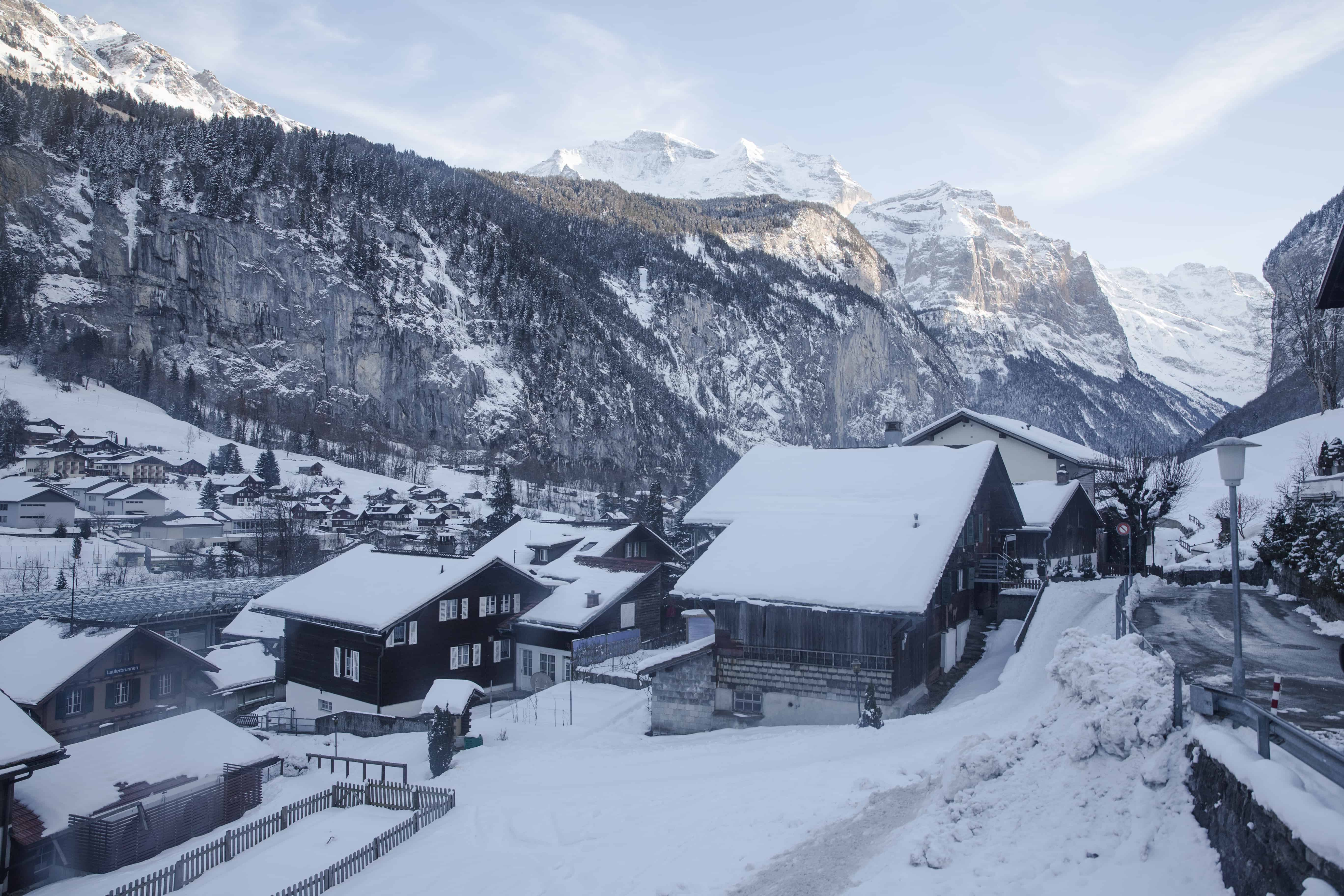 Ski chalets in Mürren, Switzerland, a classic ski town in the Swiss Alps, covered in snow in February