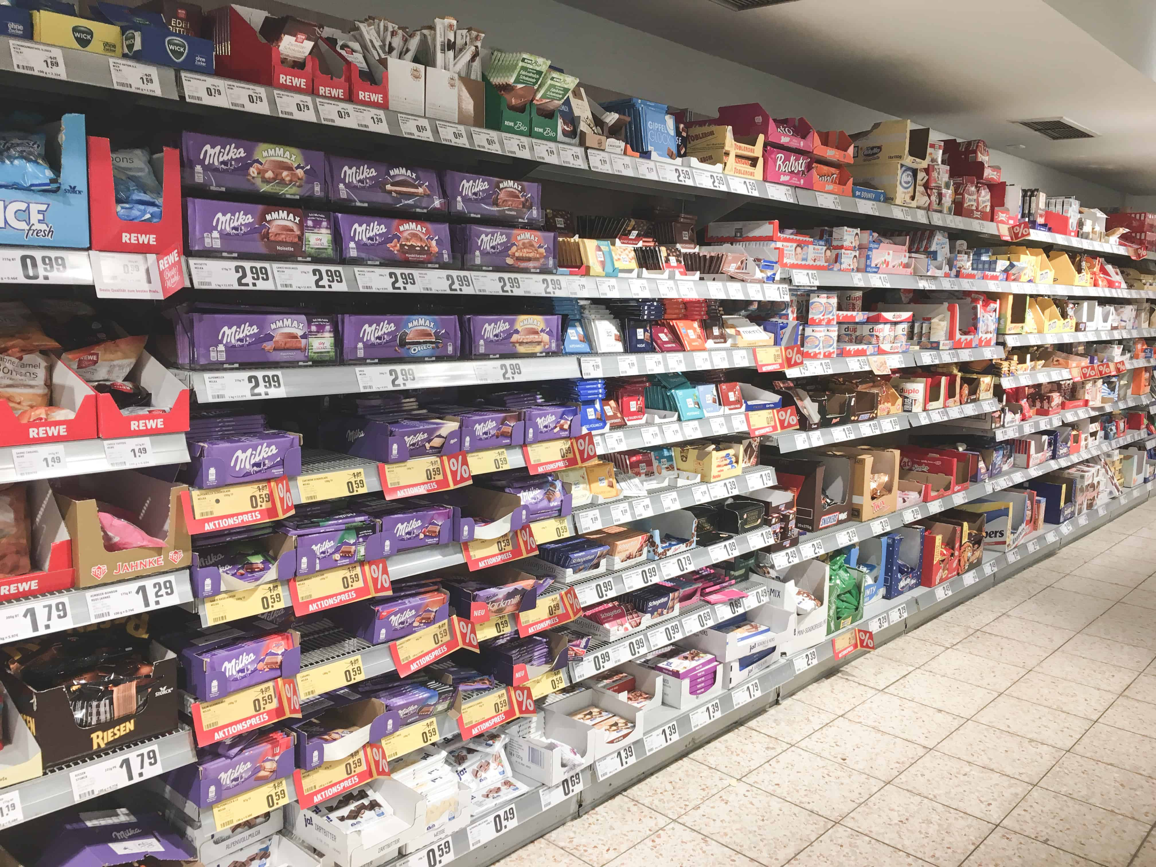 The large variety of chocolate in German supermarkets is one thing that surprised me about Germany!