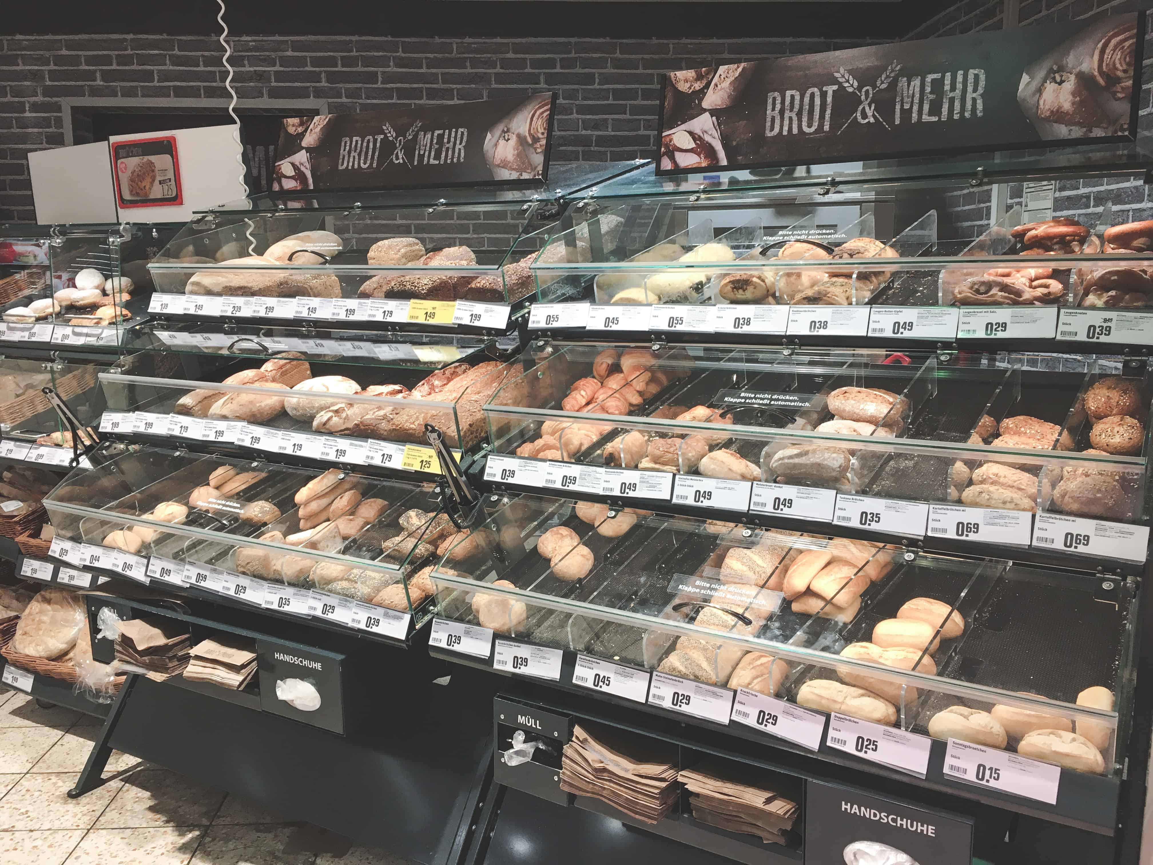 The large variety of bread in German supermarkets is one thing that surprised me about Germany!