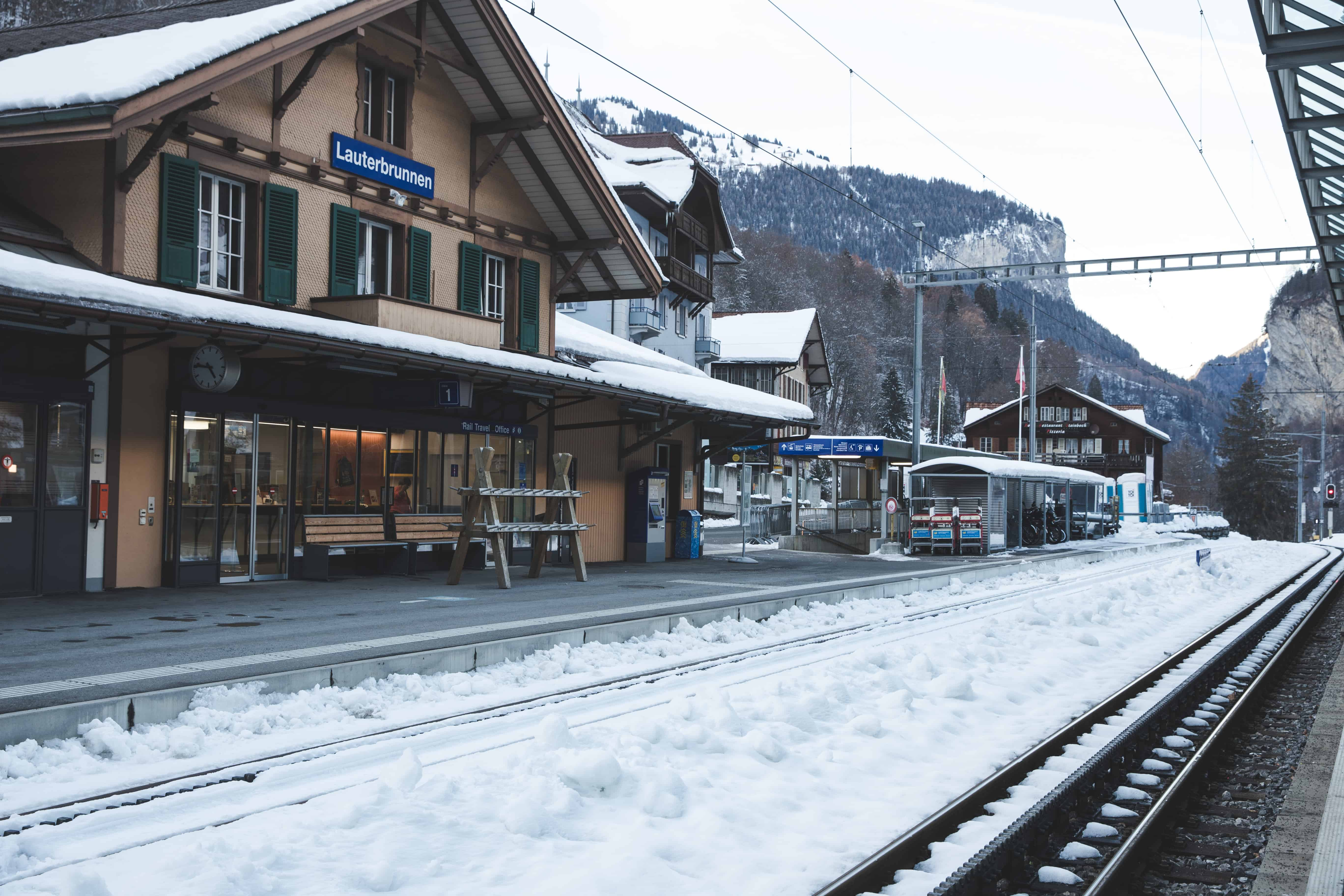 Lauterbrunnen is a pretty Swiss Alps ski town to visit in winter in Switzerland