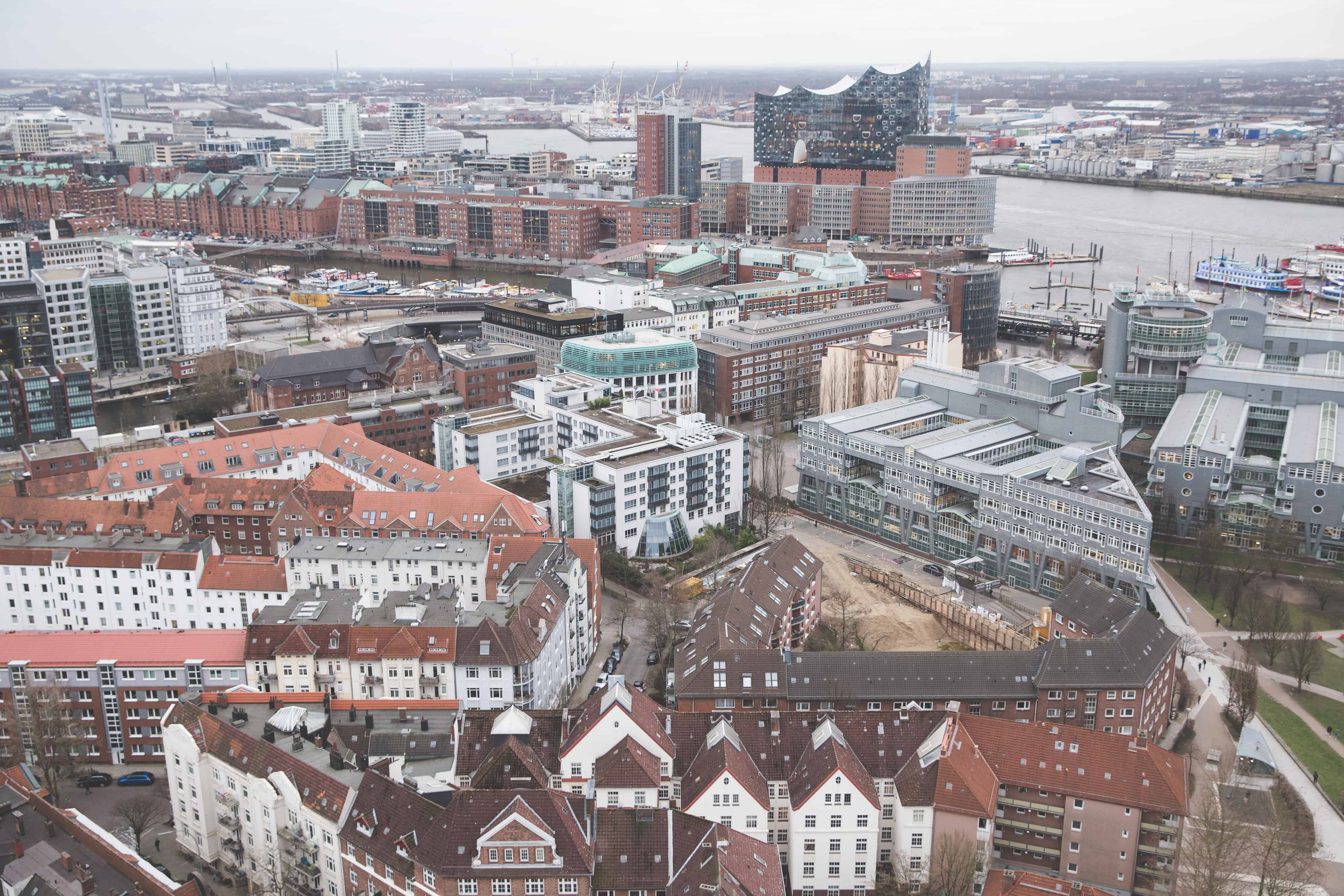 View of Hamburg and Elbphilharmonie from the Church of St. Michael (Michel)