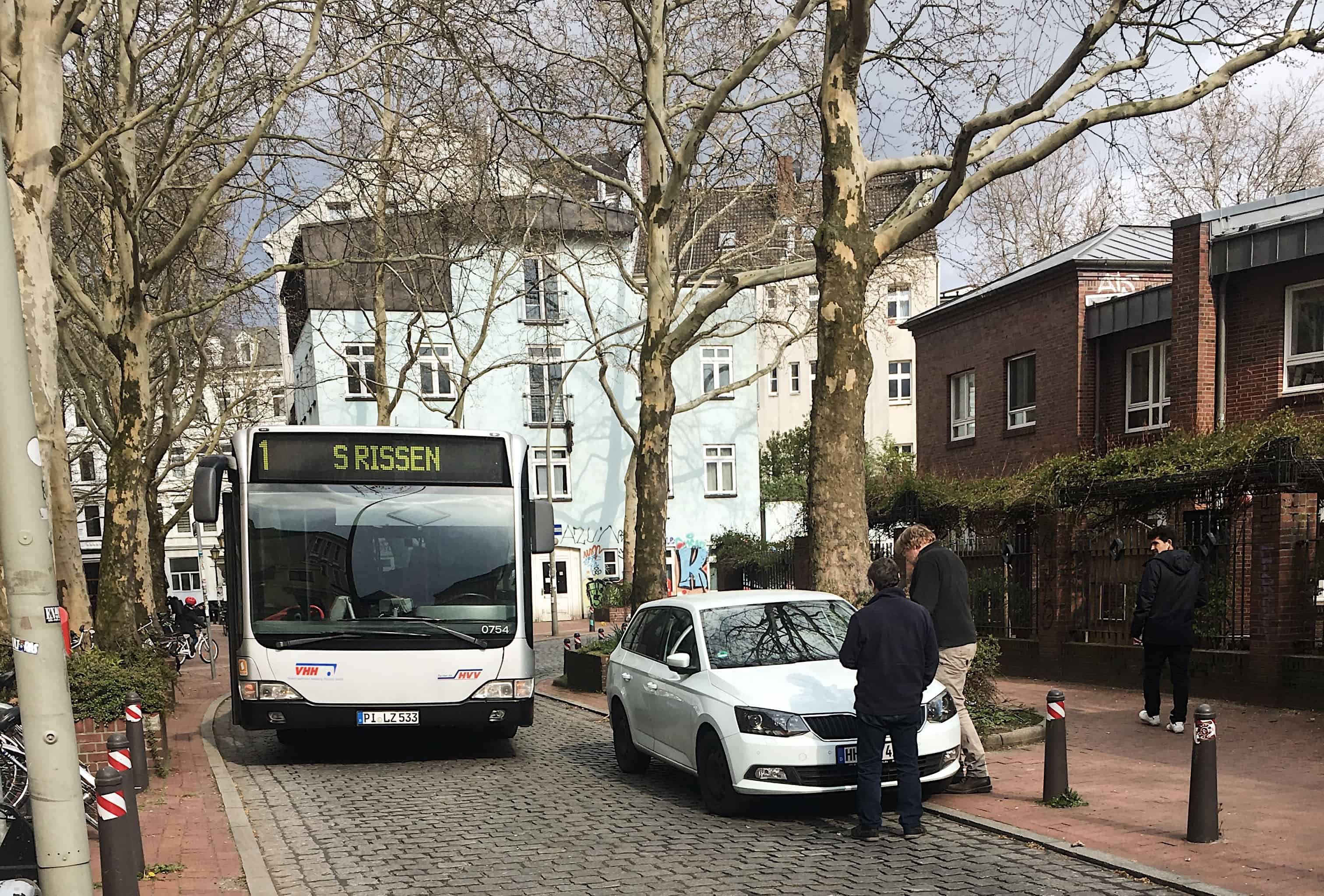 A bus is one of the ways to get around via public transportation in Hamburg, Germany