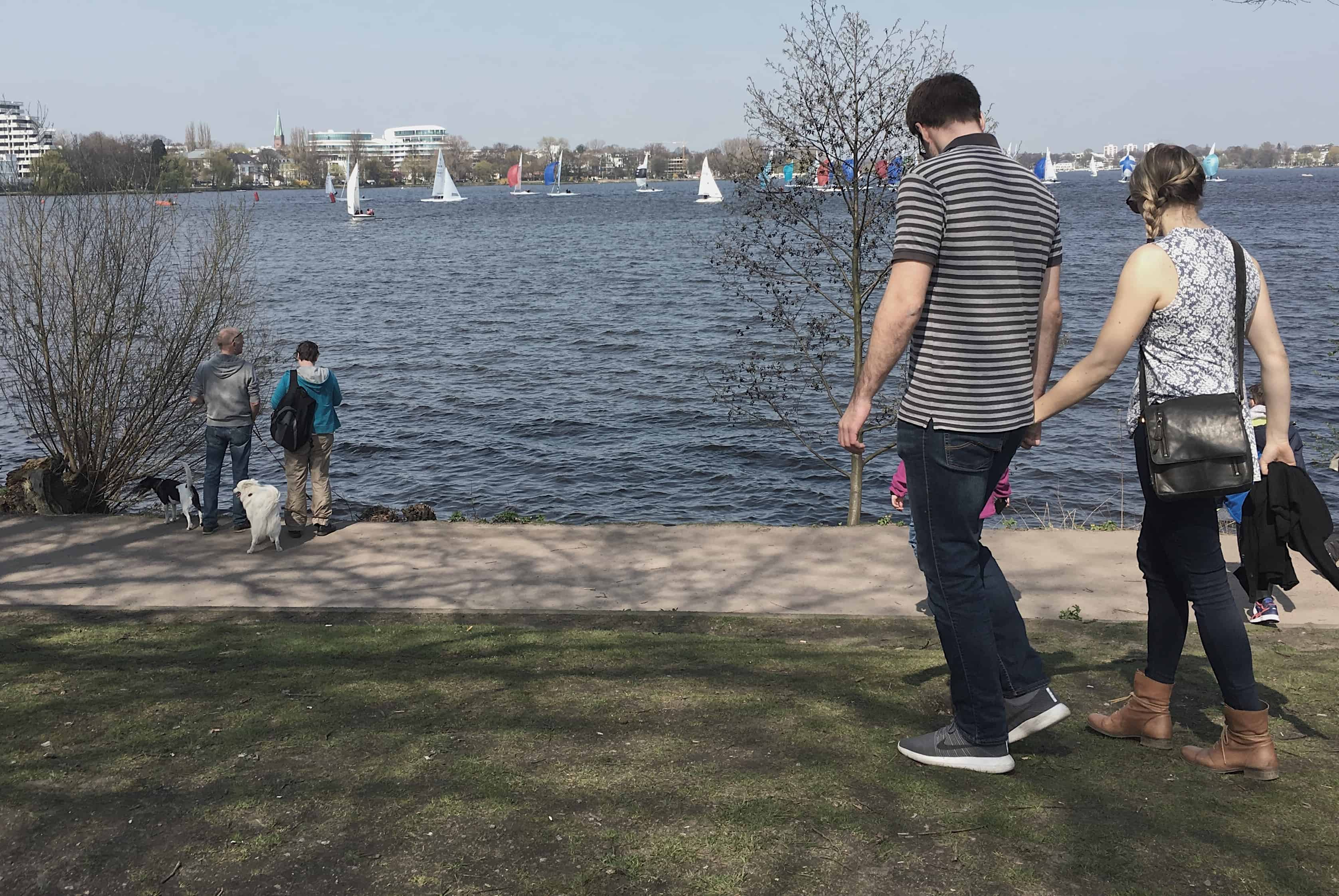 The banks of Außenalster (Outer Alster Lake) on a nice day
