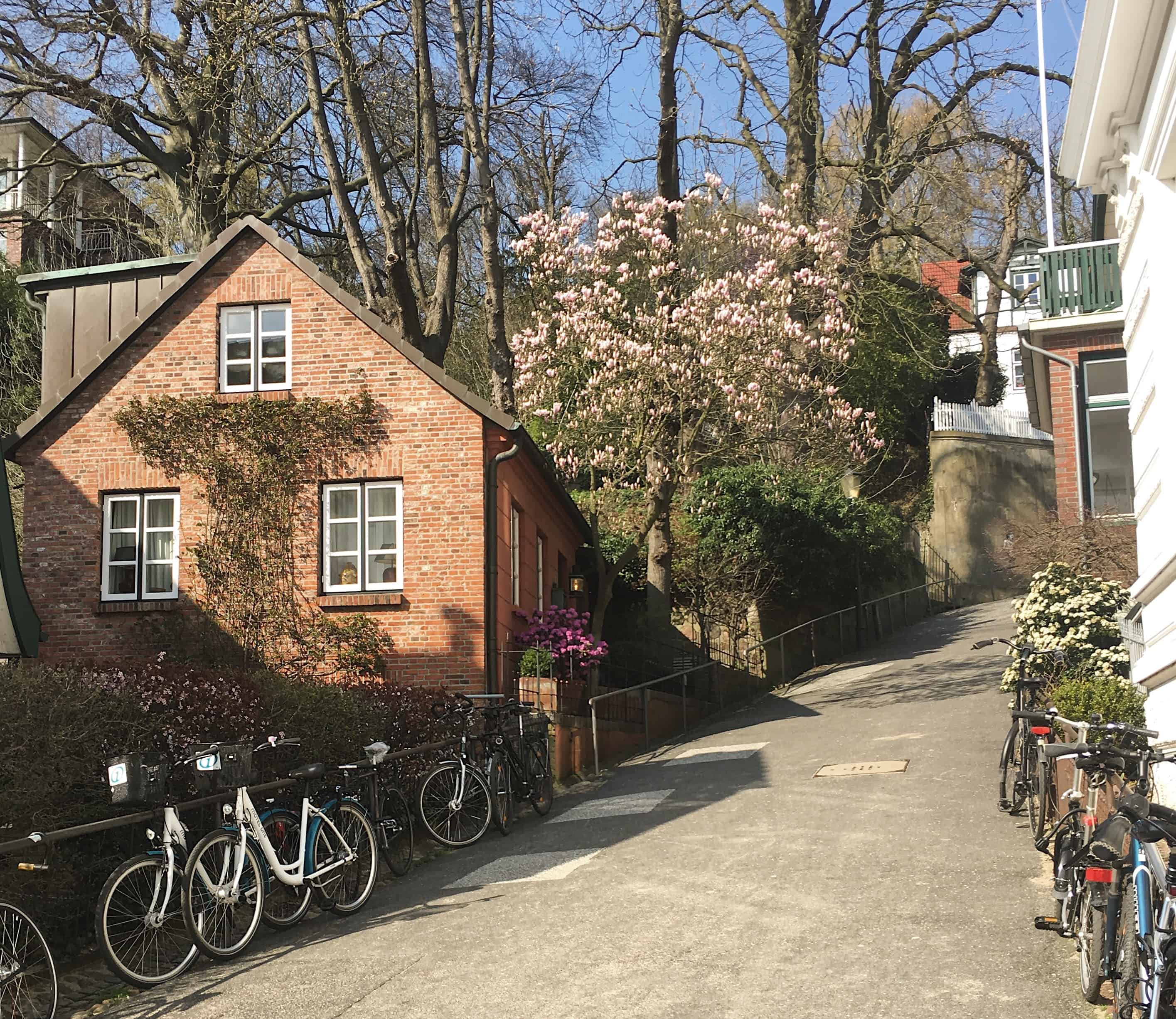 A brick building and bikes in the Othmarschen area on a sunny spring day in Hamburg, Germany