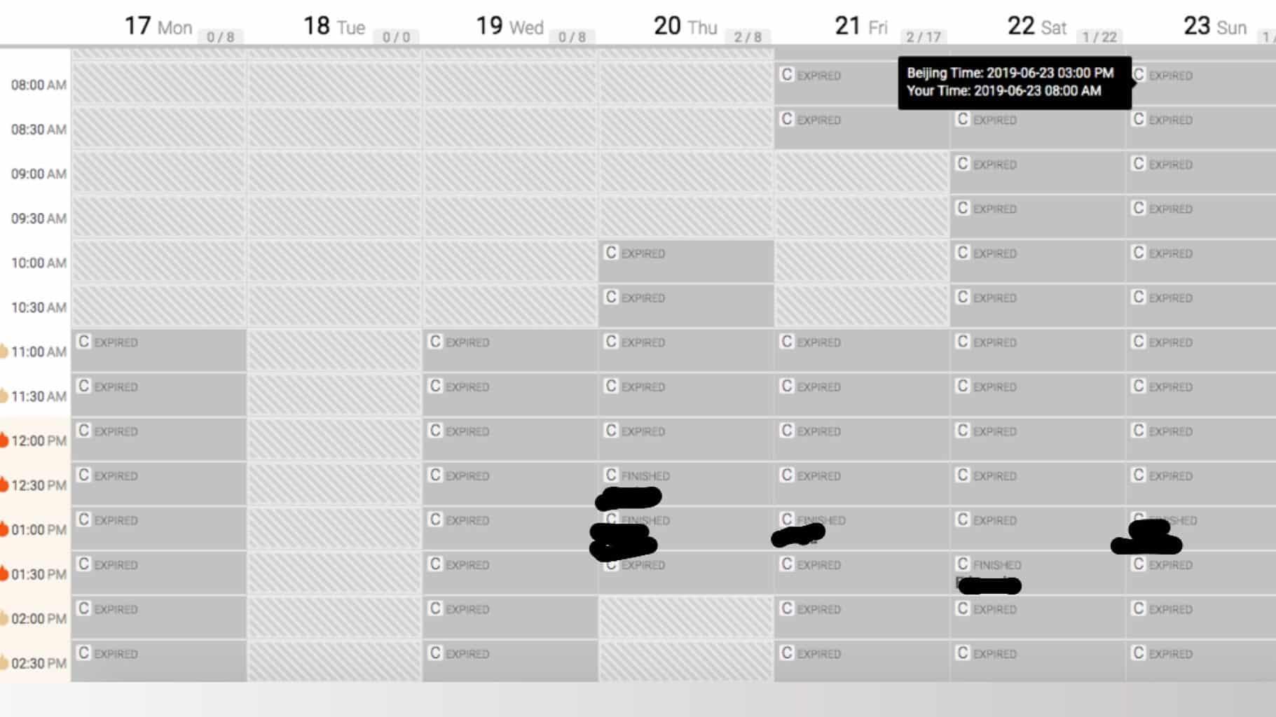 VIP Kid Teacher Schedule