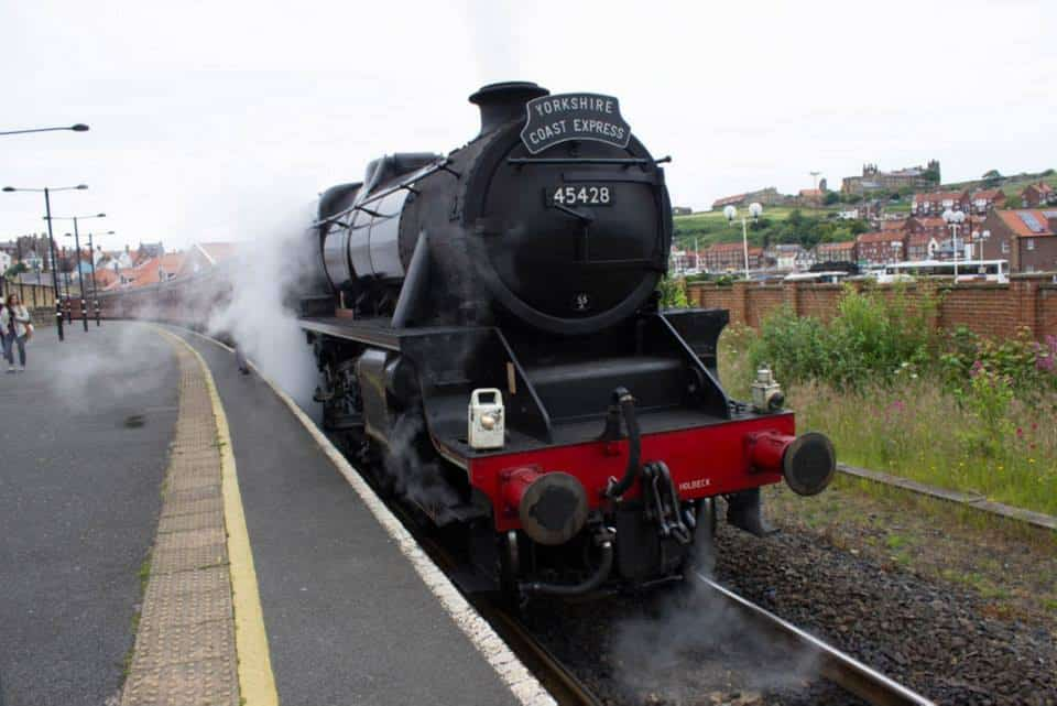 North York Moors Railway train in Whitby, England - a Yorkshire coastal town to visit