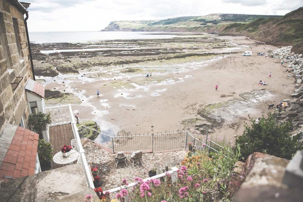 The beach in Robin Hood's Bay, one of the pretty Yorkshire coastal towns to visit in England
