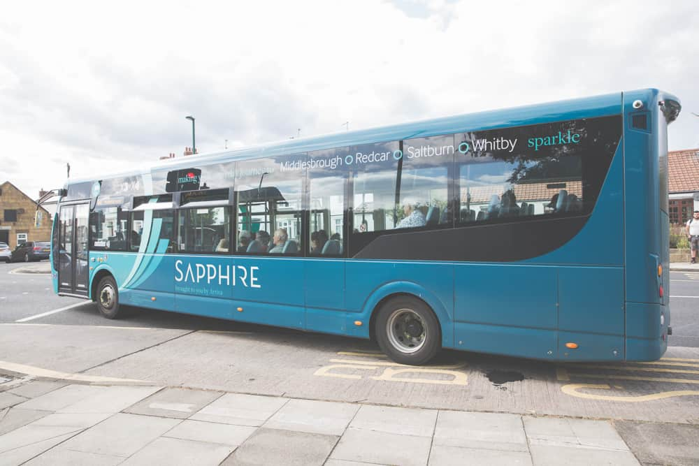 The Arriva Bus X4, X3A Sapphire, X93 MAX, or 5 Sapphire will look similar to this - key to getting around the Yorkshire coastal towns Saltburn-by-the-Sea, Staithes, Robin Hood's Bay, Whitby, and Scarborough
