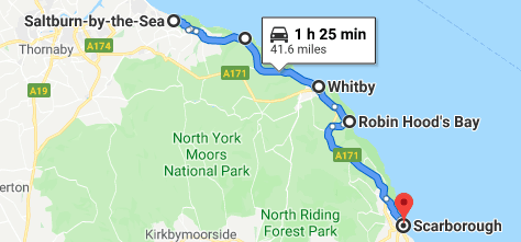 Map of Saltburn-by-the-Sea, Staithes, Whitby, Robin Hood's Bay, and Scarborough