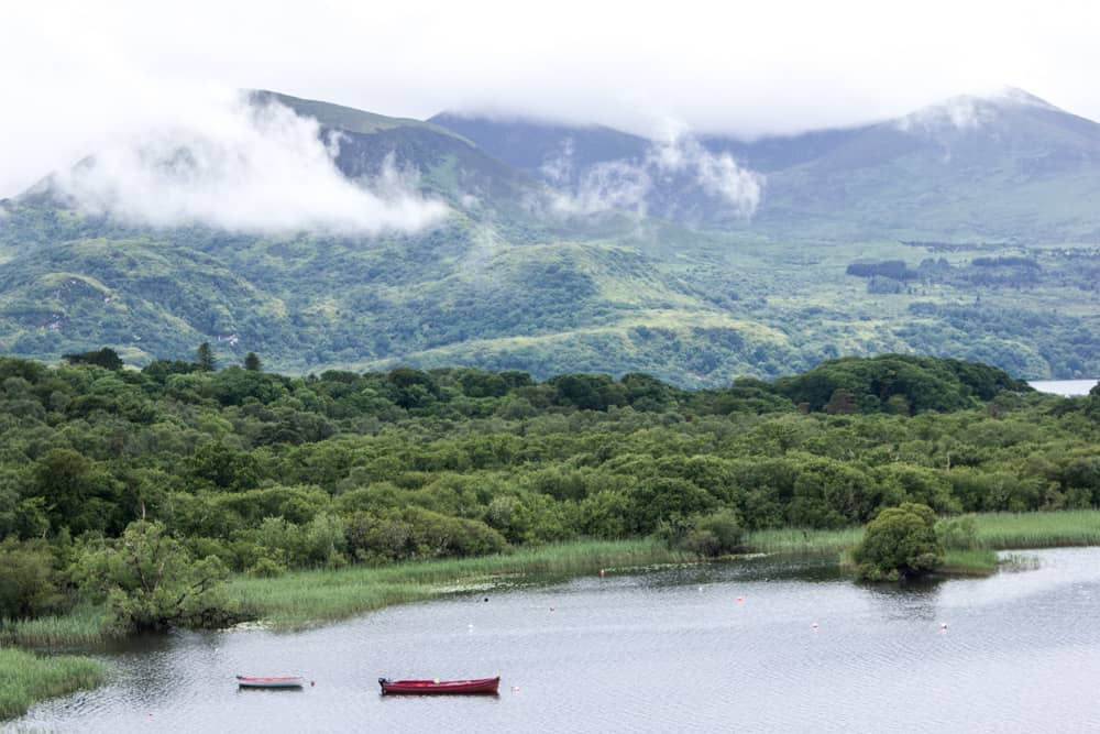 boats on lake in killarney national park in ireland