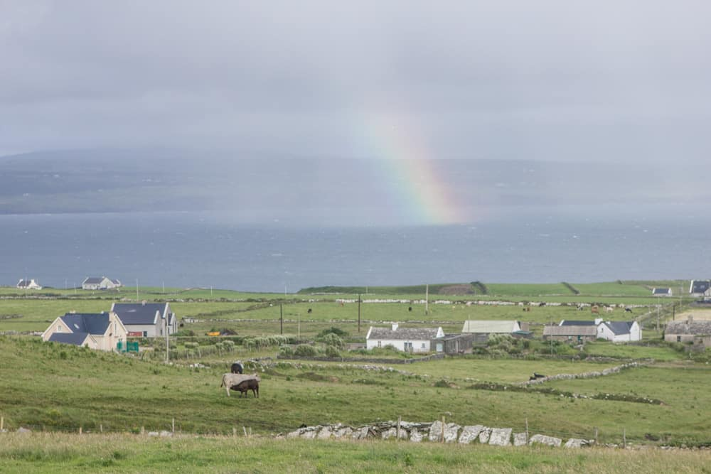 rainbow and houses on the irish coast
