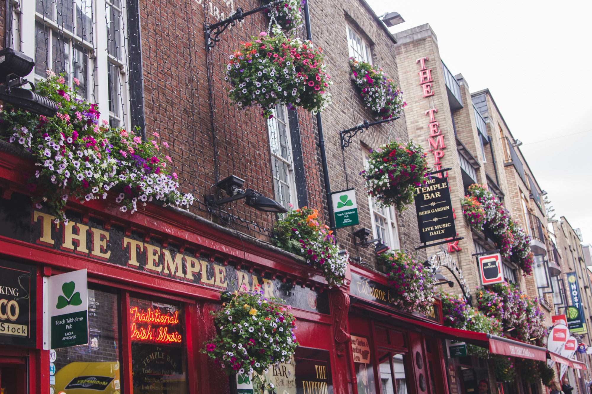 Temple Bar in Dublin, Ireland is full of brick bars and flower pots